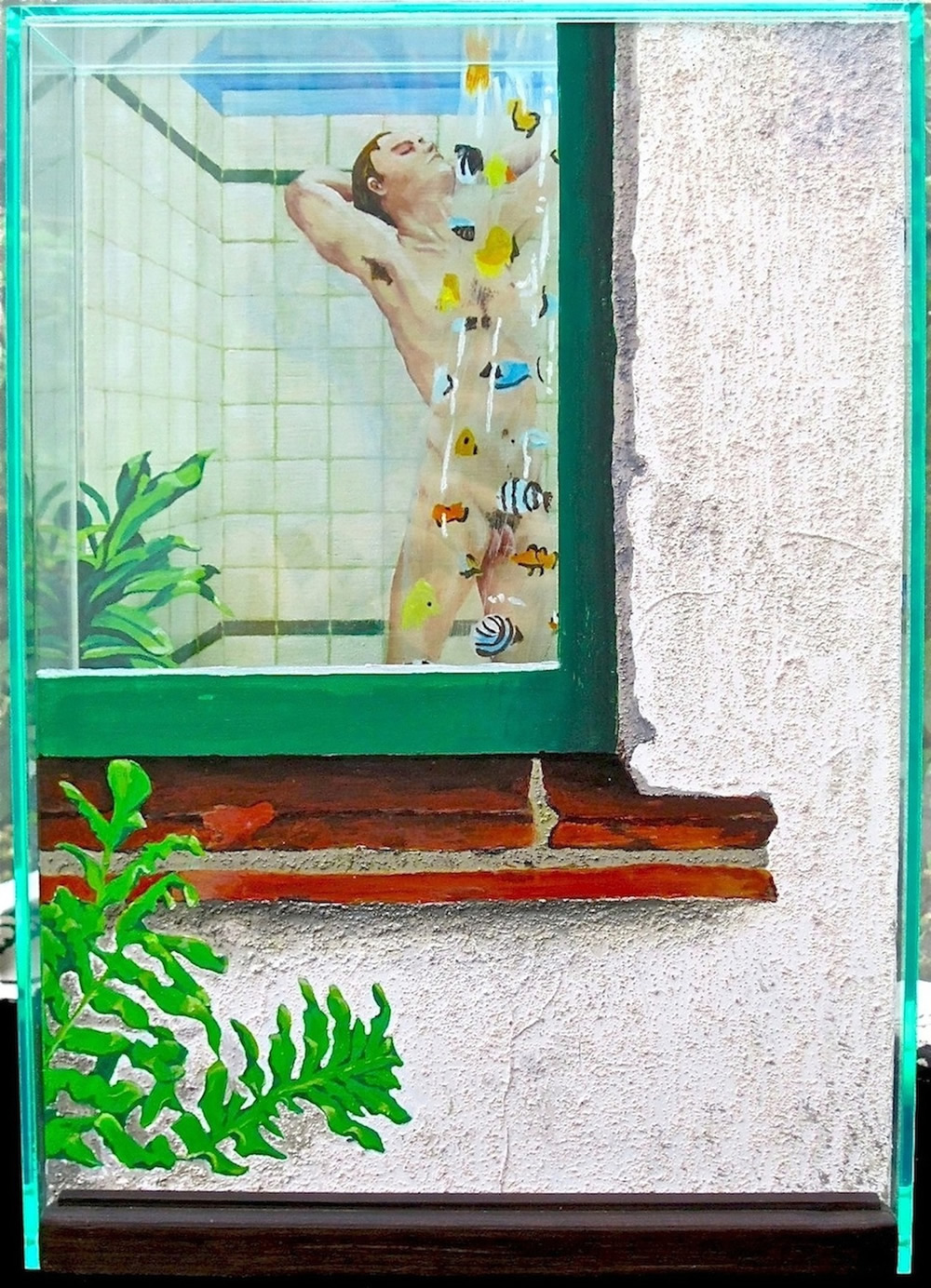 Chrissy Thirlaway, Peeping 7.30am, Triptych view 1, Mixed media, 31x44x15cm