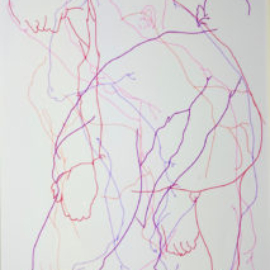 Chrissy Thirlaway, Blind Drawing 11th Feb, Pen on paper, 25x32cm