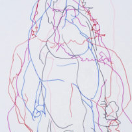 Chrissy Thirlaway, Blind Drawing 7th July, Pen on paper, 25x32cm