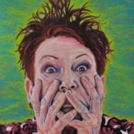 Chrissy Thirlaway, Self Portrait, Pastel on paper, 42x60cm